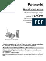 PanasonicKX-TG6702B Telefon Mauel
