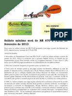 Salário mínimo será de R$ 670 a Partir de fevereiro de 2013
