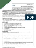 NLP (Neuro-Lingustic Programming) Factsheet