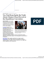 Paul Ryan Spoke the Truth About Obama's Fiscal Record