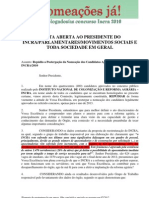 Carta de Repúdio dos concursados do Incra ao Presidente Carlos Guedes
