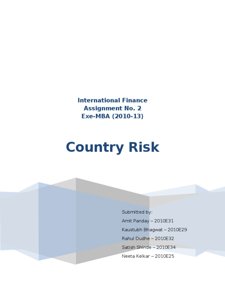 international finance country risk risk