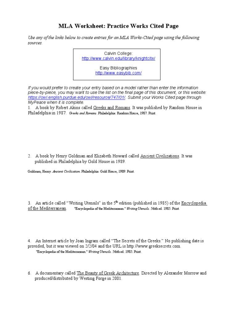 MLAPractice Worksheet Done Science – Mla Format Worksheet