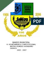Bando Municipal de Matías Romero Avendaño
