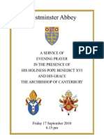 Order of Service Papal Visit Westminster Abbey