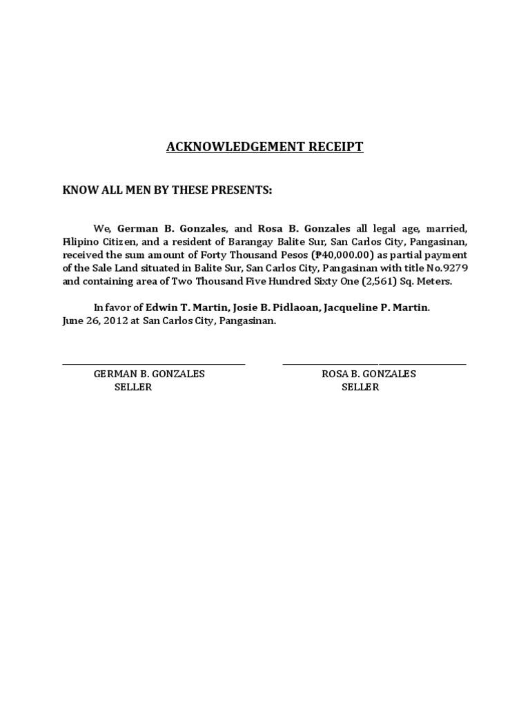 land purchase receipt template  Acknowledgement Receipt