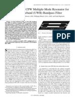 Short-Circuited CPW Multiple-Mode Resonator for ULTRA-wIDEBAND (Uwb) BANDPASS FILTER