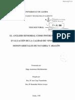 El Analisis Sensorial como Instrumento de Evaluación de la Calidad de Vinos Tintos Monovarietales de Navarra y Aragon
