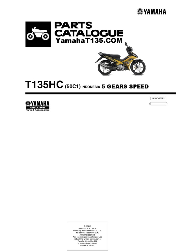 2011 Yamaha T135 Parts Catalog