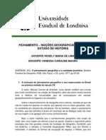 Fichamento Geografia - Pens. Geo. e Realidade Brasileira