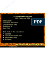powerpoint on evaluating resources - web pages and wikis