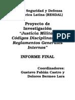 Codigos de Justicia Militar en LA Informe