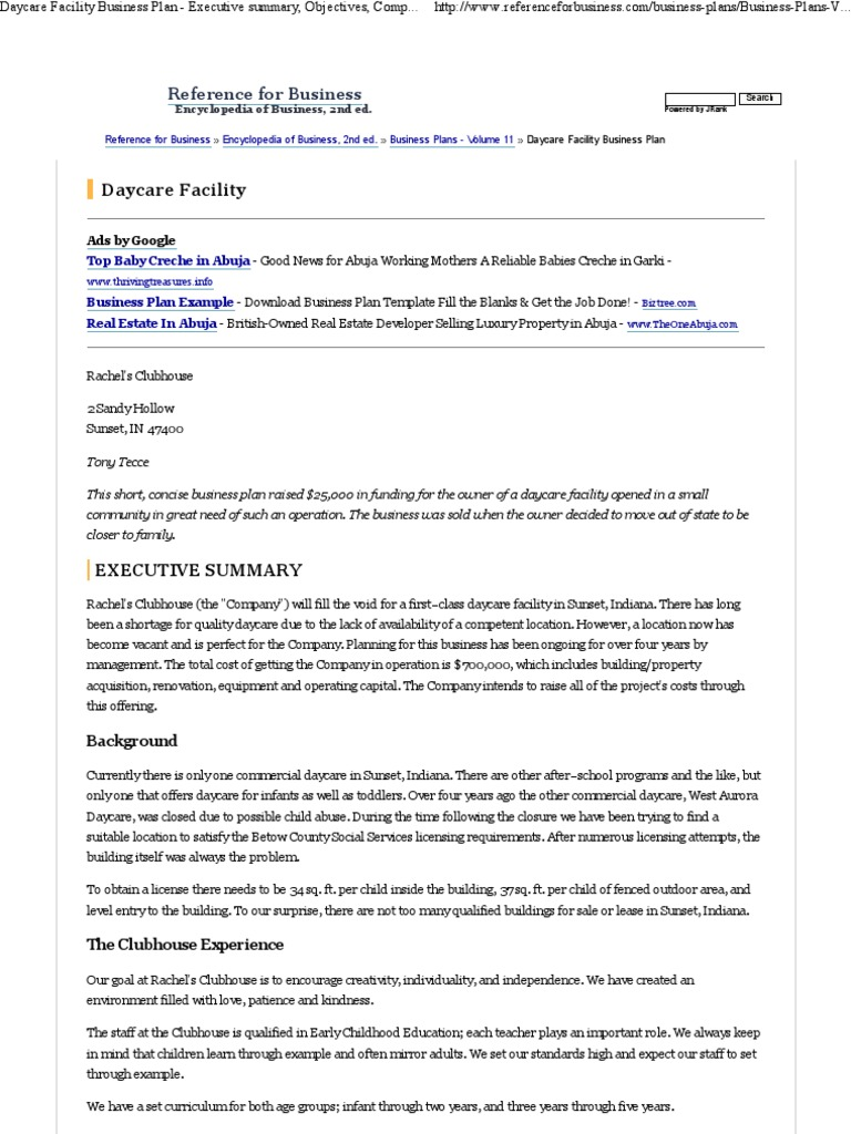 Daycare Facility Business Plan Template Day Care Teaching - Daycare center business plan template