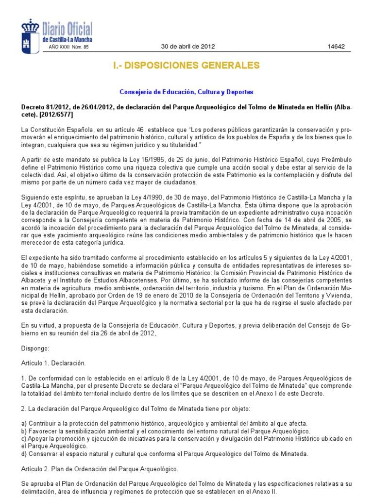 Decreto 8 2012 De 26 04 2012 De Declaraci N Del Parque  # Muebles Tobarra Pardo