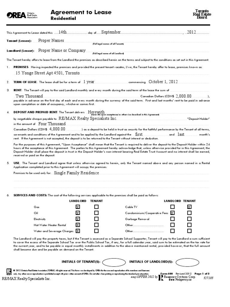 Sample Tenant Lease Leasehold Estate Landlord