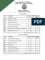 MBA (Tourism) Program Structure Full