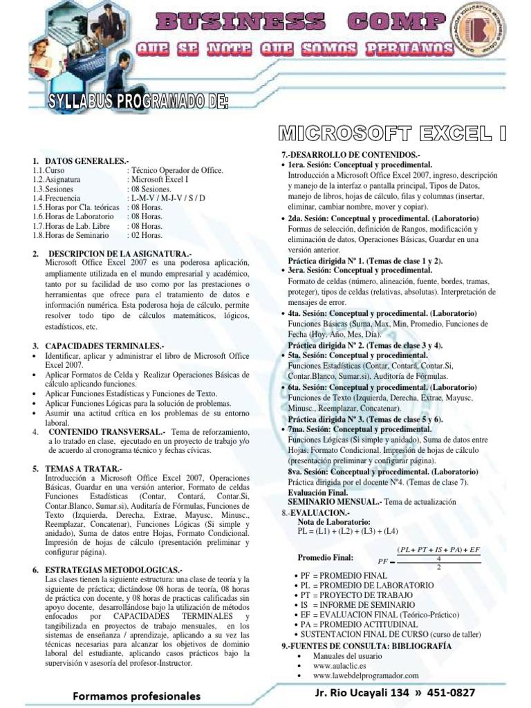 Syllabus de Excel i -II