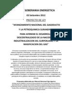 Afianzamiento Nacional de Gasoducto y Petroquimica Surandina PROYECTO de LEY Propuesto Por FORO SOBERANIA ENERGETICA 02-09-2012 Esquema Resumen ( VF)