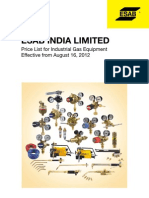 ESAB Industrial Gas Equipment Price List 16-08-2012