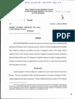 Texas TCPA Order - Adamcik v Credit Control Services, Inc. / CCS / Credit Collection Services