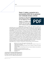 2005 Factor V Leiden y mutación de la protombina G20210A en pacientes con trombosis venosa y arterial