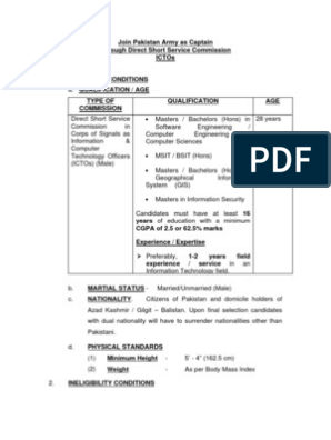 Eligibility Criteria for Joining Pakistan Army as a Corps of Signals