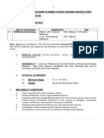 Eligibility Criteria for Joining Pakistan Army in Armed Forces Nursing Service (AFNS) (General Nursing)