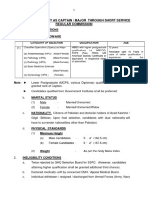 Eligibility Criteria for Joining Pakistan Army as a