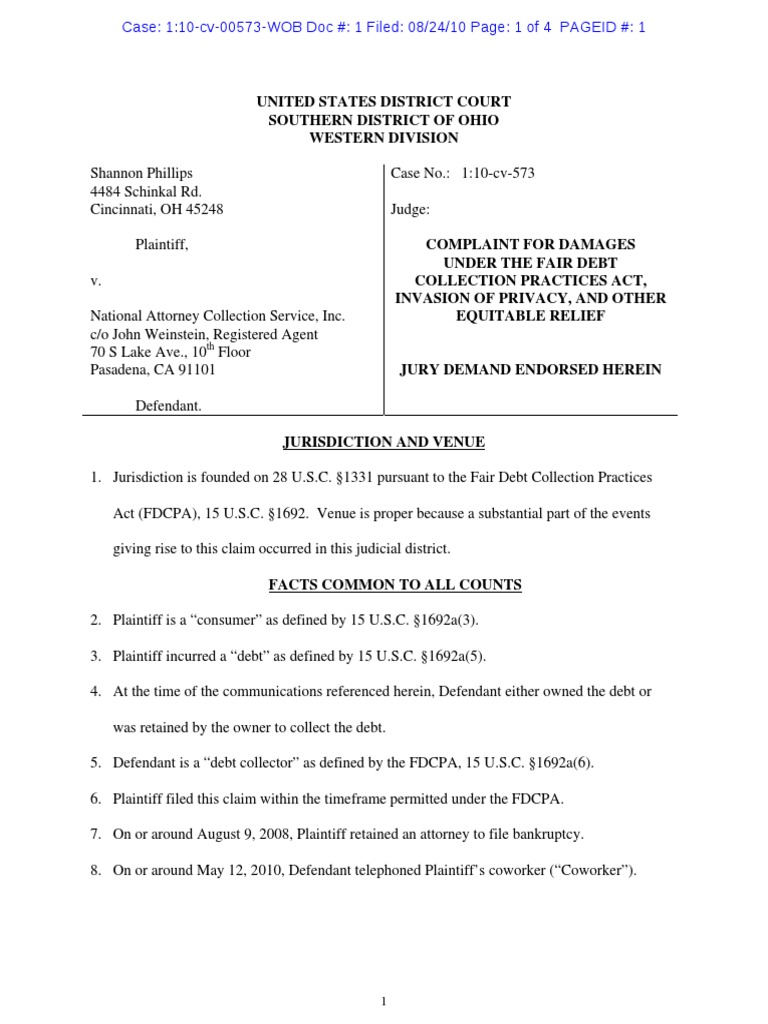 Phillips V National Attorney Collection Services Fdcpa Complaint