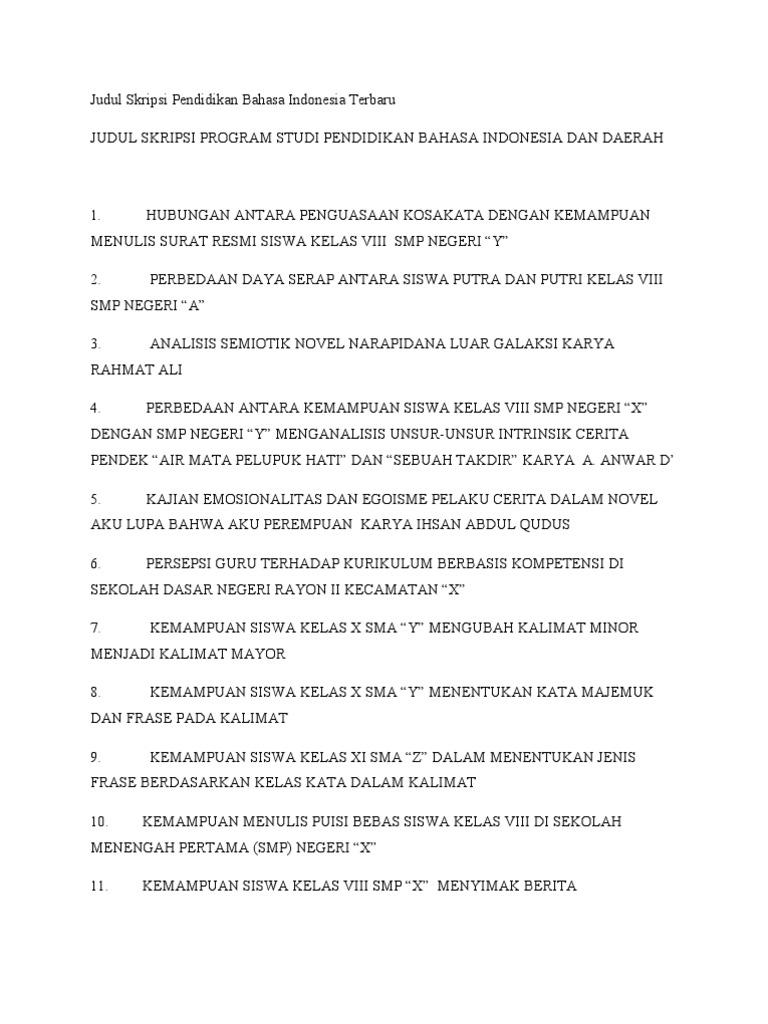 Judul Skripsi Pendidikan Bahasa Indonesia Tentang Kebahasaan Ide Judul Skripsi Universitas