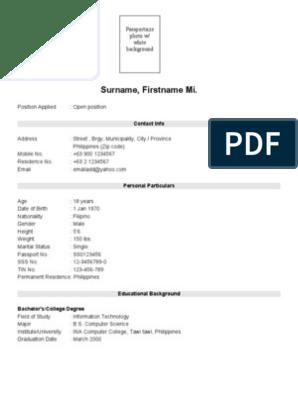 Job Application Sample Resume Pdf Best Resume Ideas