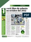Perú libre de asbesto en octubre del 2013