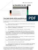 A2 Media Studies Blogging Check List - 2012-2013