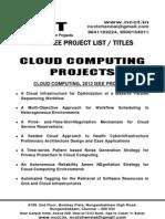 Java - Cloud Computing Project Titles - List = 2012-13, 2011, 2010, 2009, 2008