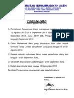 Pengumuman Tentang Pendaftaran Ulang Mahasiswa Baru Tahun Akademik 2012/2013