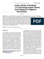 A Comparative Study of Students Performance in Technology Based Theory and Practical Subjects in Nigerian Universities IJSTR