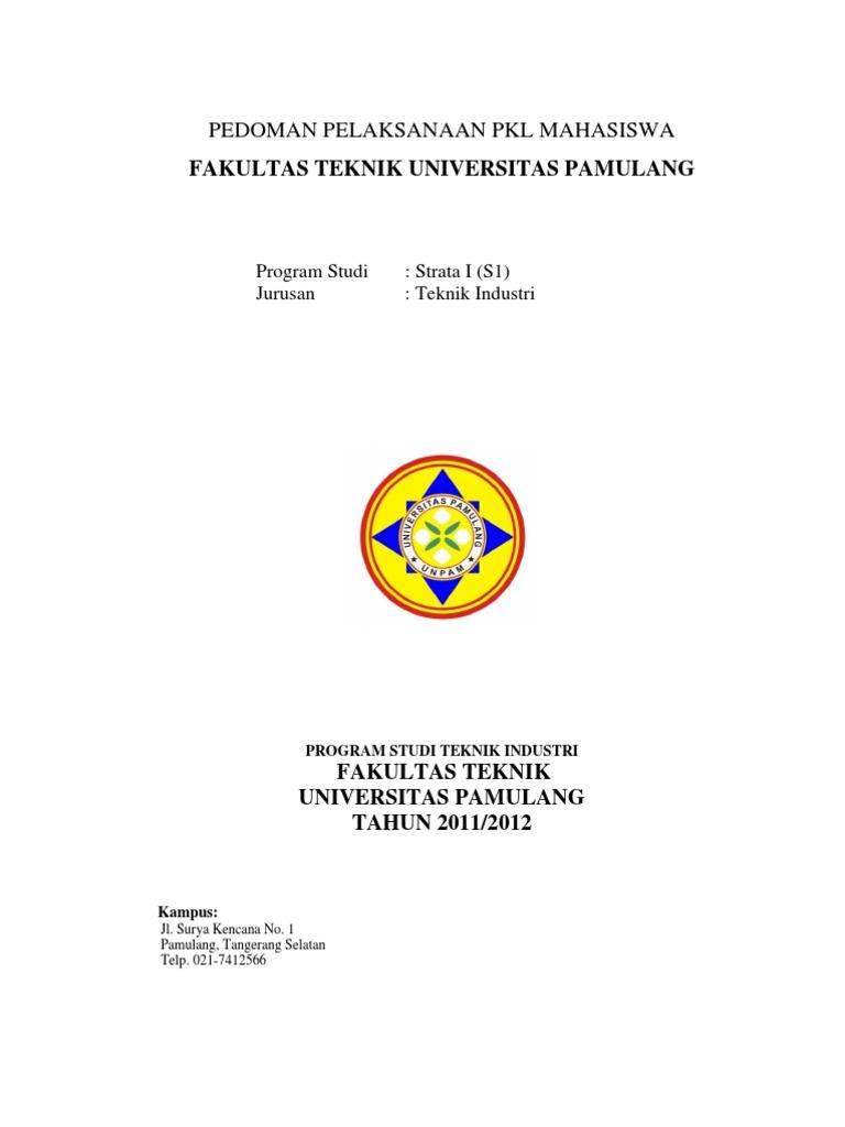 Pedoman Pelaksanaan Pkl Mahasiswa Fakultas Teknik Universitas Pamulang