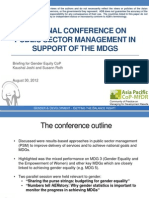 Regional Conference on Public Sector Management in Support of MDGs