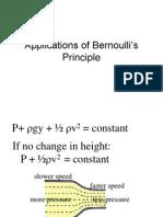 Applications of Bernoulli Principle