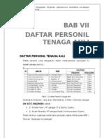 Usulan Teknis - BAB VII Daftar Personil Dan Tenaga Ahli