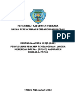 Kerangka Acuan Kerja Rencana Pembangunan Jangka Menengah Daerah Kabupaten Tolikara