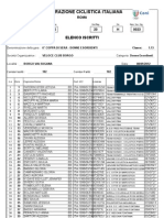 Coppa di Sera esordienti femminile, 8 settembre 2012, lista partenti