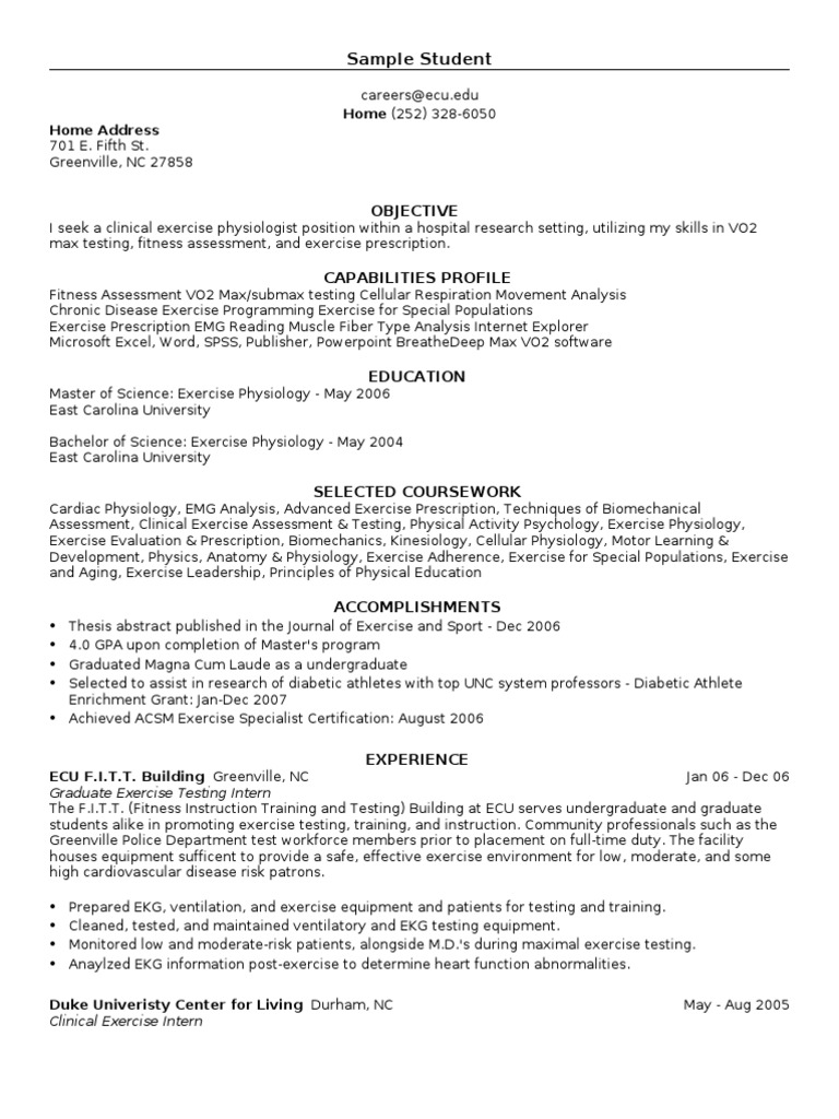 doc exercise physiology resume