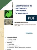 Espetrometria de massa de compostos triterpénicos