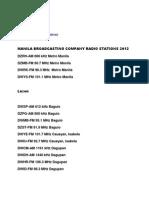 Manila Broadcasting Company Radio and TV Stations 2012