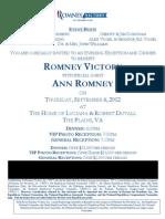 Romney Victory Robert Duvall Event Invititation