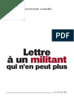 Lettre a un militant qui n'en peut plus par JC Cambadélis