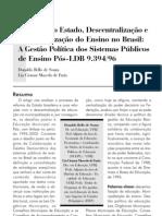 Reforma Do Estado Descentralizacao e Municipalizacao Do Ensino No Brasil