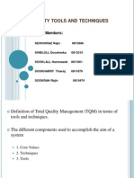 Tools and techniques of total quality management