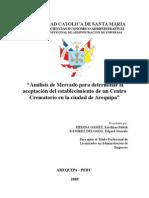 Analisis de Mercado Para Determinar La Aceptacion de Un Centro Crematorio en La Ciudad de Arequipa